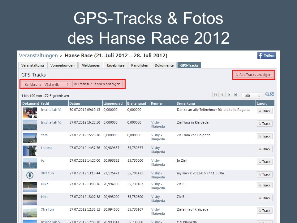 GPS-Tracks & Fotos des Hanse Race 2012