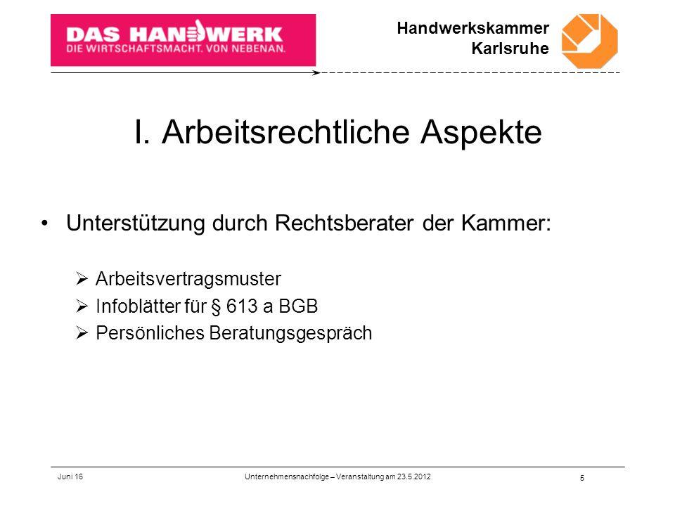 Handwerkskammer Karlsruhe Juni 16 1 Rechtliche Aspekte Einer