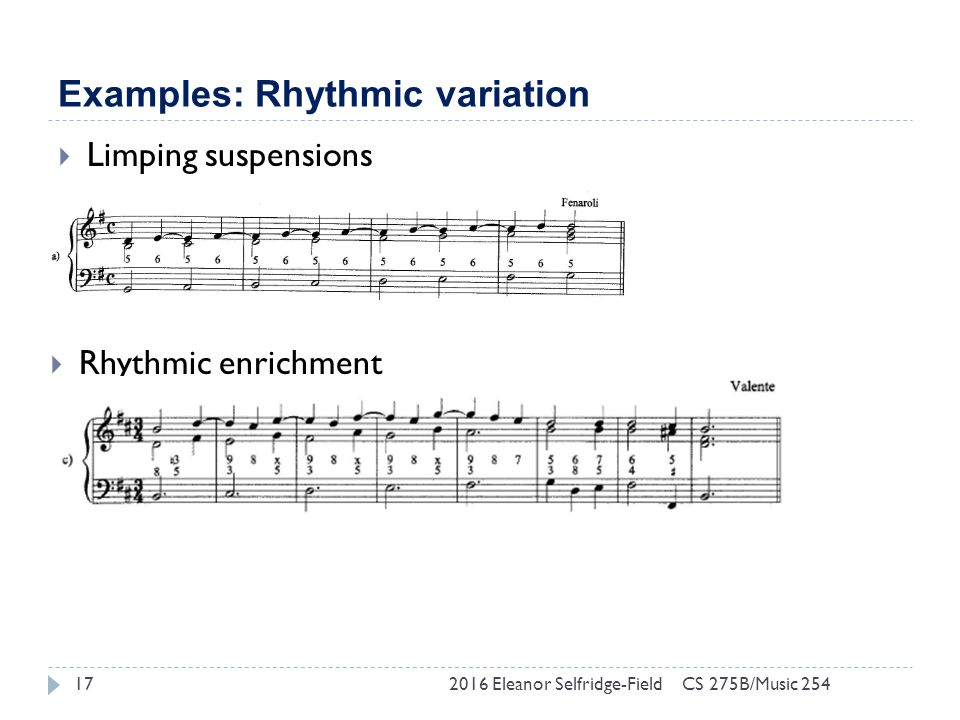 Examples: Rhythmic variation 2016 Eleanor Selfridge-Field17  Limping suspensions  Rhythmic enrichment CS 275B/Music 254