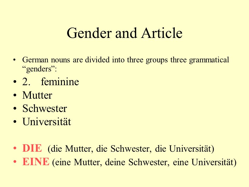 Gender and Article German nouns are divided into three groups three grammatical genders : 2.