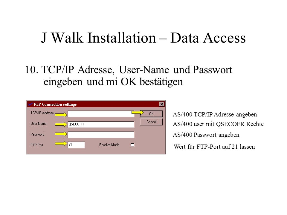 J Walk Installation – Data Access 10.