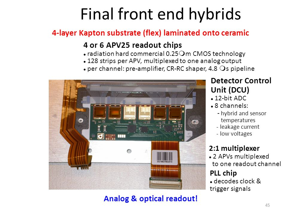4 or 6 APV25 readout chips radiation hard commercial 0.25  m CMOS technology 128 strips per APV, multiplexed to one analog output per channel: pre-amplifier, CR-RC shaper, 4.8  s pipeline 2:1 multiplexer 2 APVs multiplexed to one readout channel PLL chip decodes clock & trigger signals Detector Control Unit (DCU) 12-bit ADC 8 channels: - hybrid and sensor temperatures - leakage current - low voltages 4-layer Kapton substrate (flex) laminated onto ceramic Analog & optical readout.
