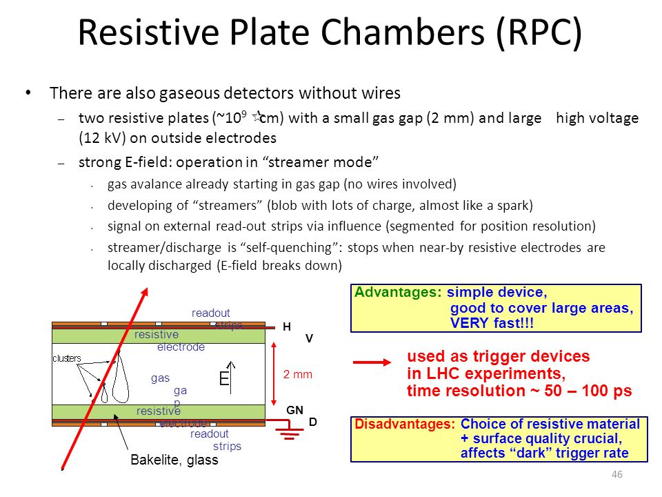 Resistive Plate Chambers (RPC) There are also gaseous detectors without wires – two resistive plates (~10 9 cm) with a small gas gap (2 mm) and largehigh voltage (12 kV) on outside electrodes – strong E-field: operation in streamer mode gas avalance already starting in gas gap (no wires involved) developing of streamers (blob with lots of charge, almost like a spark) signal on external read-out strips via influence (segmented for position resolution) streamer/discharge is self-quenching : stops when near-by resistive electrodes are locally discharged (E-field breaks down) resistive electrode gas ga p HVHV GN D readout strips 2 mm Advantages: simple device, good to cover large areas, VERY fast!!.
