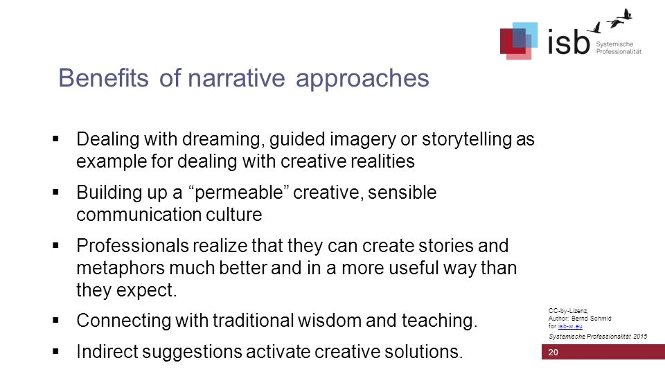 CC-by-Lizenz, Author: Bernd Schmid for isb-w.euisb-w.eu Systemische Professionalität 2015 Benefits of narrative approaches 20  Dealing with dreaming, guided imagery or storytelling as example for dealing with creative realities  Building up a permeable creative, sensible communication culture  Professionals realize that they can create stories and metaphors much better and in a more useful way than they expect.