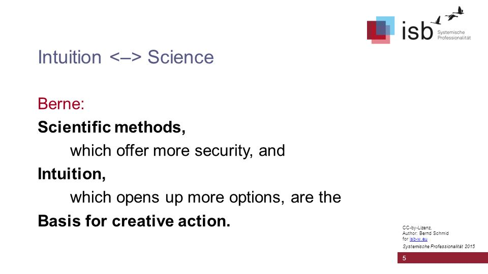 CC-by-Lizenz, Author: Bernd Schmid for isb-w.euisb-w.eu Systemische Professionalität 2015 Intuition Science Berne: Scientific methods, which offer more security, and Intuition, which opens up more options, are the Basis for creative action.