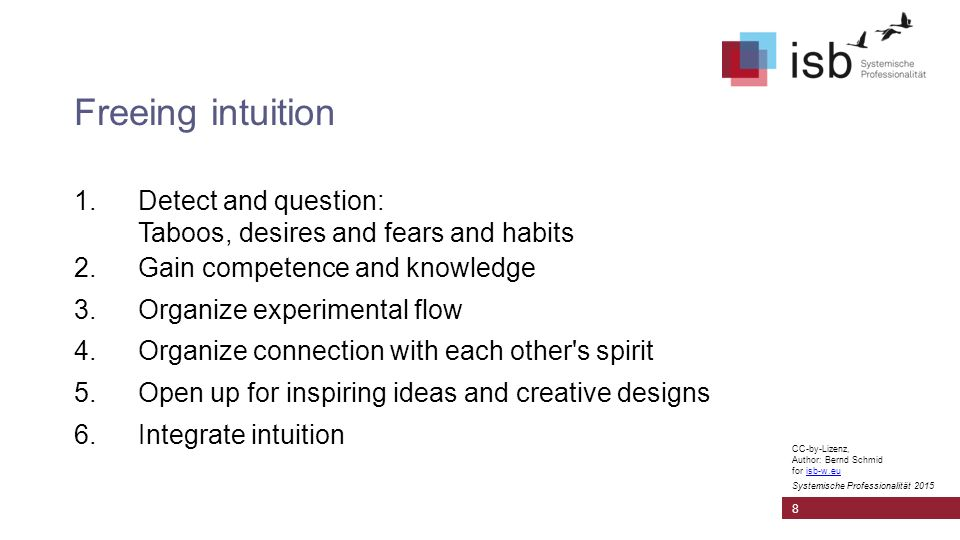 CC-by-Lizenz, Author: Bernd Schmid for isb-w.euisb-w.eu Systemische Professionalität 2015 Freeing intuition 1.Detect and question: Taboos, desires and fears and habits 2.Gain competence and knowledge 3.Organize experimental flow 4.Organize connection with each other s spirit 5.Open up for inspiring ideas and creative designs 6.Integrate intuition 8