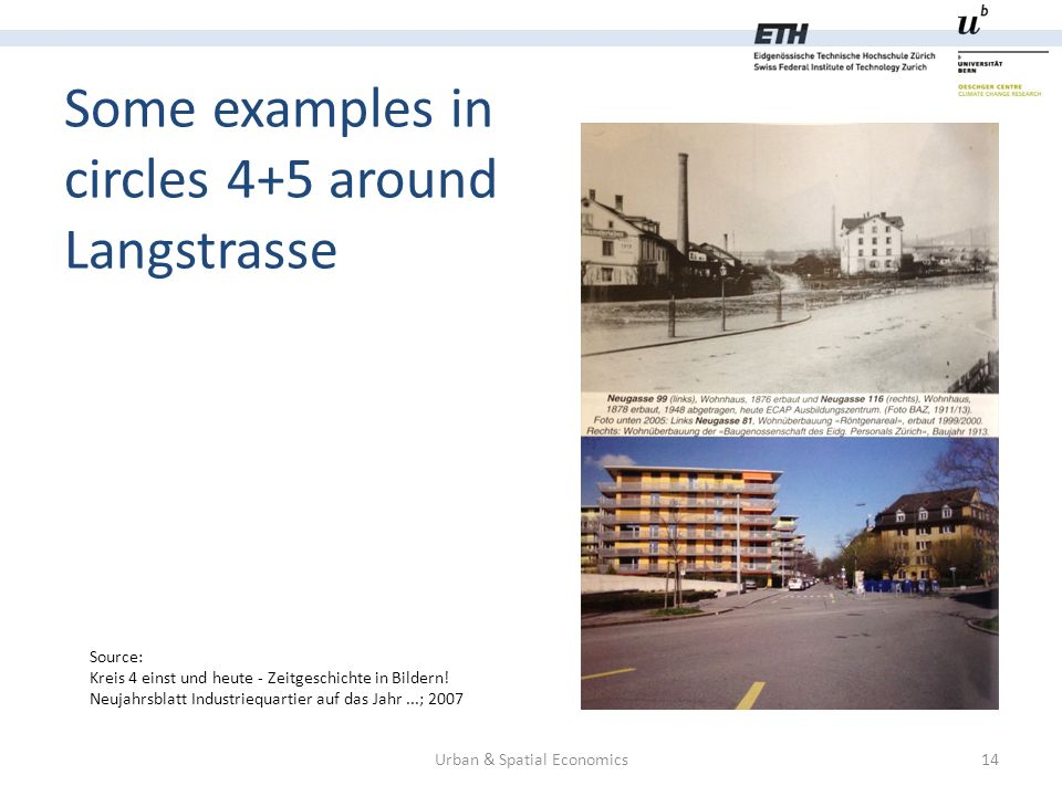Some examples in circles 4+5 around Langstrasse Urban & Spatial Economics14 Source: Kreis 4 einst und heute - Zeitgeschichte in Bildern.