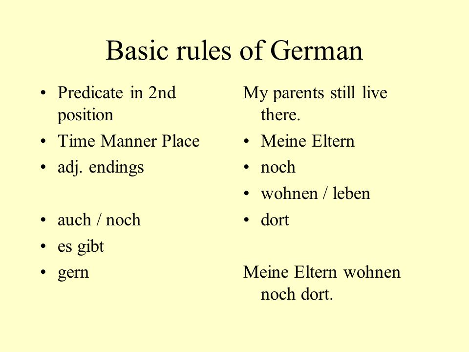 Basic rules of German Predicate in 2nd position Time Manner Place adj.