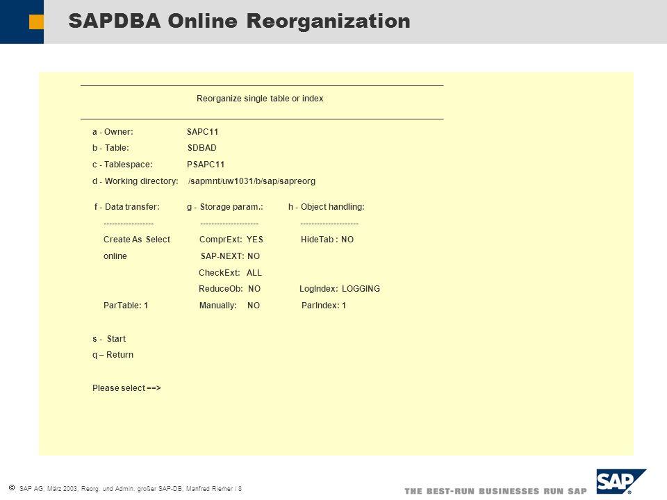 Reorganisation und Administration großer SAP-DB Manfred Riemer SAP ...