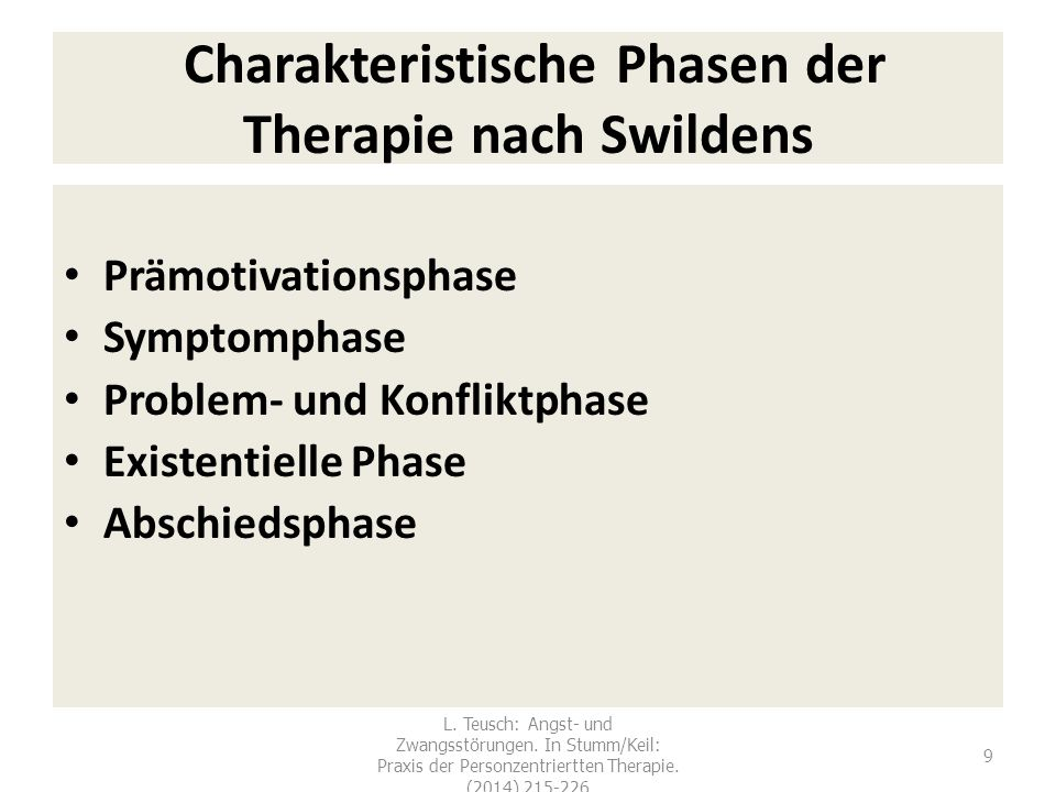 Charakteristische Phasen der Therapie nach Swildens Prämotivationsphase Symptomphase Problem- und Konfliktphase Existentielle Phase Abschiedsphase 9 L.