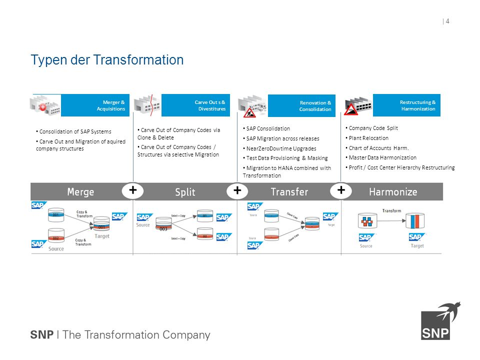 Typen der Transformation | 4 Company Code Split Plant Relocation Chart of Accounts Harm.