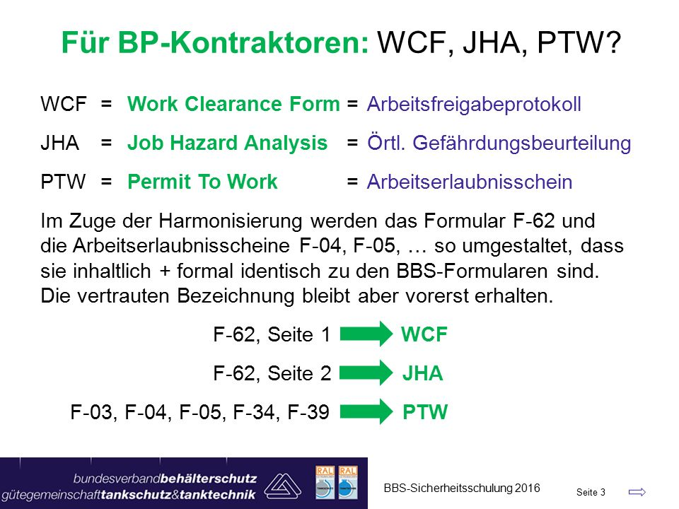 WCF=Work Clearance Form=Arbeitsfreigabeprotokoll JHA=Job Hazard Analysis=Örtl.
