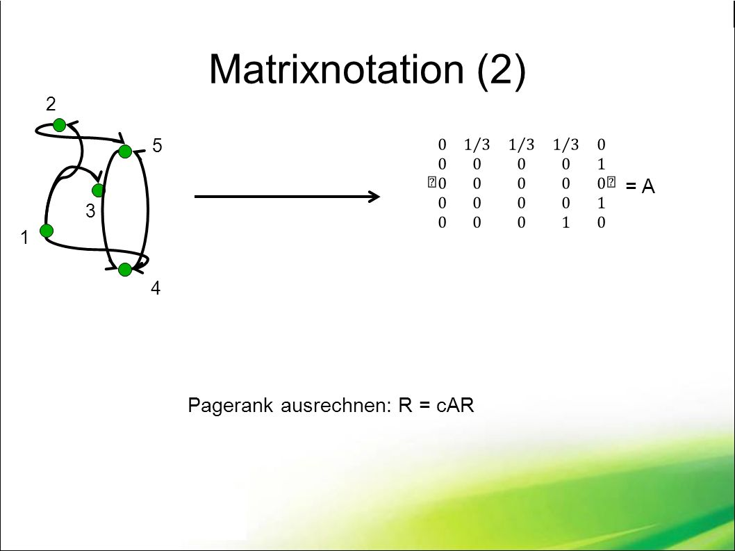 Matrixnotation (2) 1 2 3 5 4 = A Pagerank ausrechnen: R = cAR