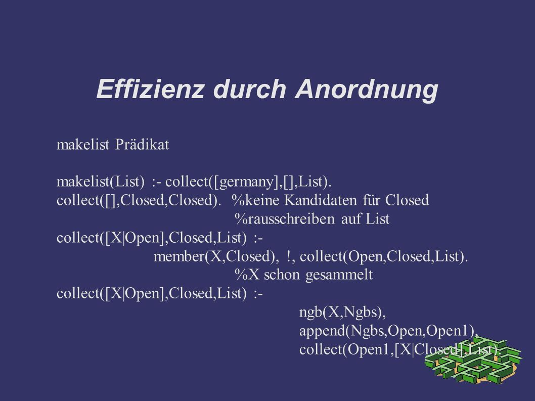 Effizienz durch Anordnung makelist Prädikat makelist(List) :- collect([germany],[],List).