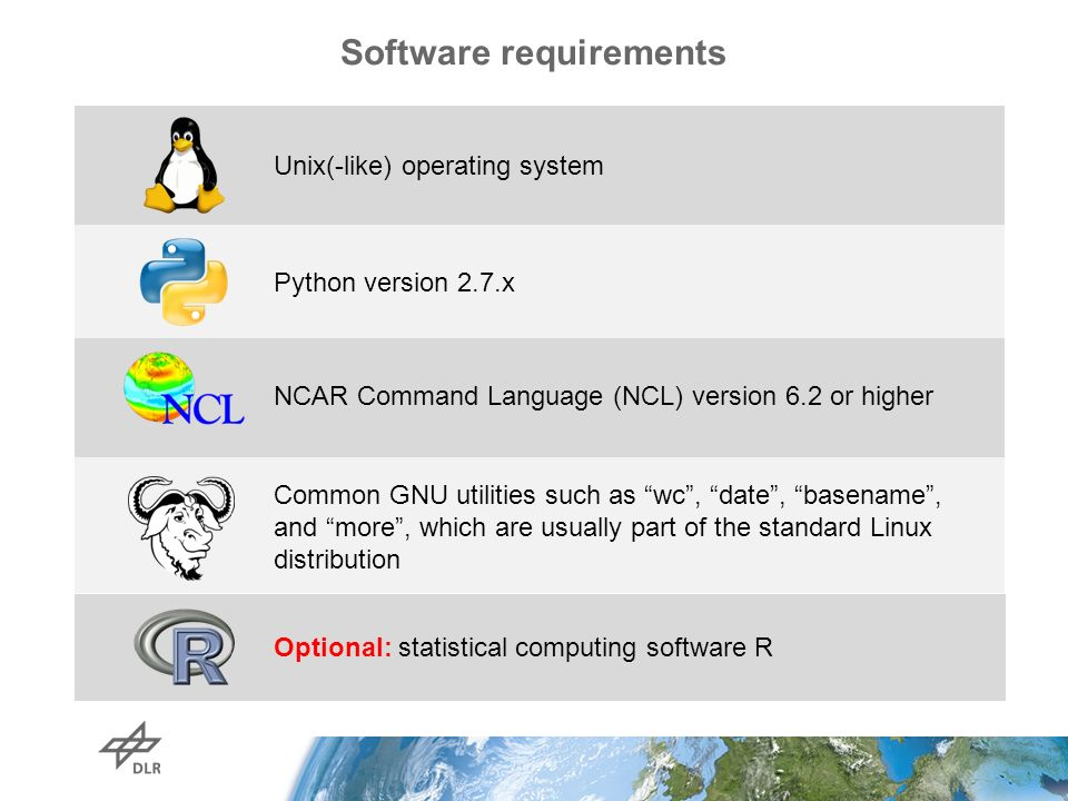 Software requirements Python version 2.7.x Optional: statistical computing software R Unix(-like) operating system NCAR Command Language (NCL) version 6.2 or higher Common GNU utilities such as wc , date , basename , and more , which are usually part of the standard Linux distribution