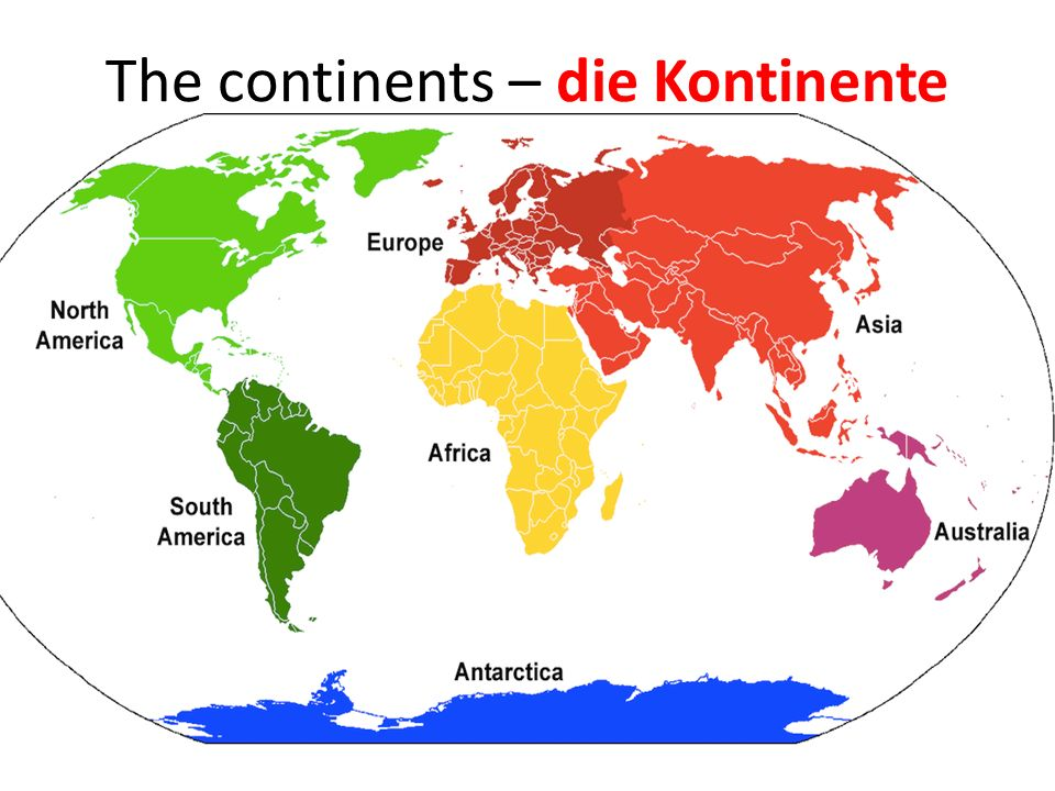 The continents – die Kontinente