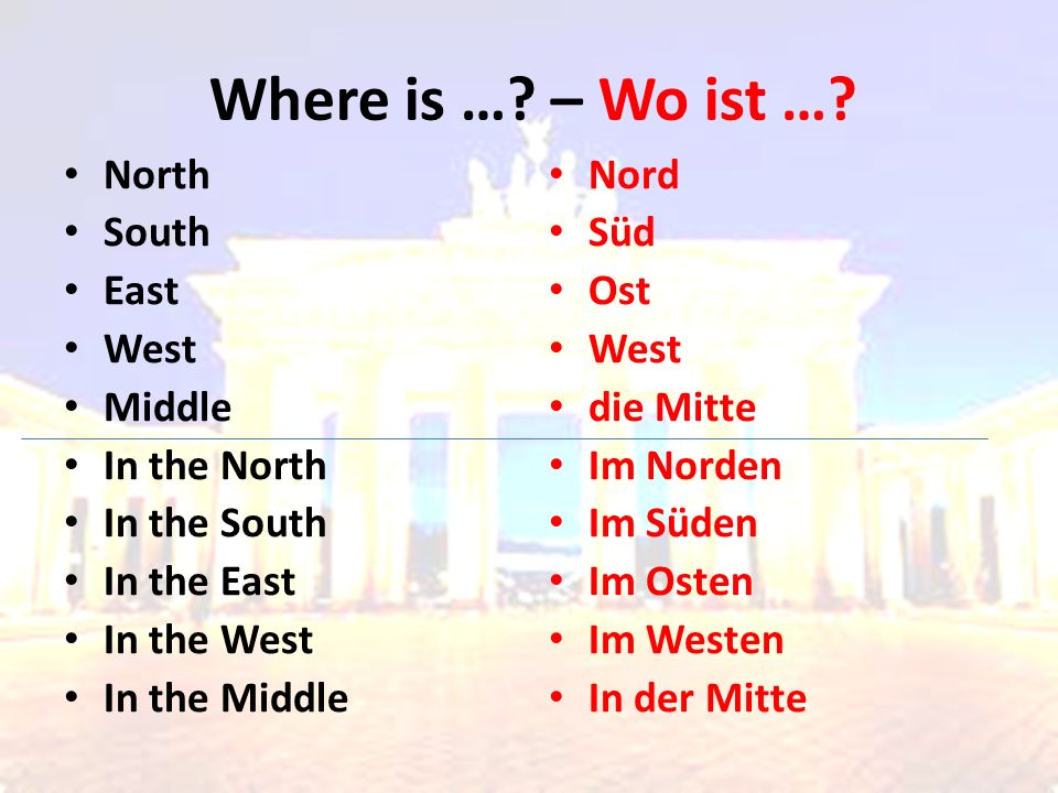 Where is …. – Wo ist ….