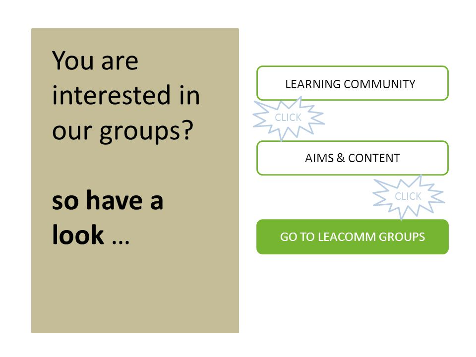 You are interested in our groups.