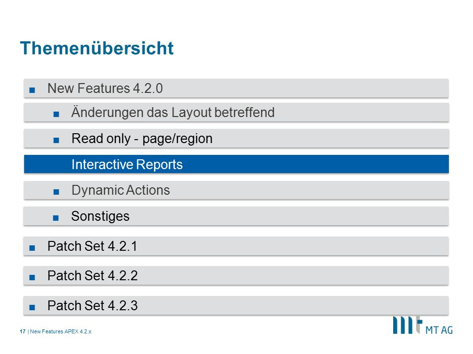 | Themenübersicht New Features APEX 4.2.x17 ■ New Features 4.2.0 ■ Änderungen das Layout betreffend ■ Read only - page/region ■ Interactive Reports ■ Dynamic Actions ■ Sonstiges ■ Patch Set 4.2.1 ■ Patch Set 4.2.2 ■ Patch Set 4.2.3