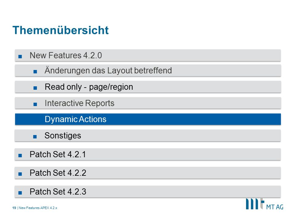 | Themenübersicht New Features APEX 4.2.x19 ■ New Features 4.2.0 ■ Änderungen das Layout betreffend ■ Read only - page/region ■ Interactive Reports ■ Dynamic Actions ■ Sonstiges ■ Patch Set 4.2.1 ■ Patch Set 4.2.2 ■ Patch Set 4.2.3
