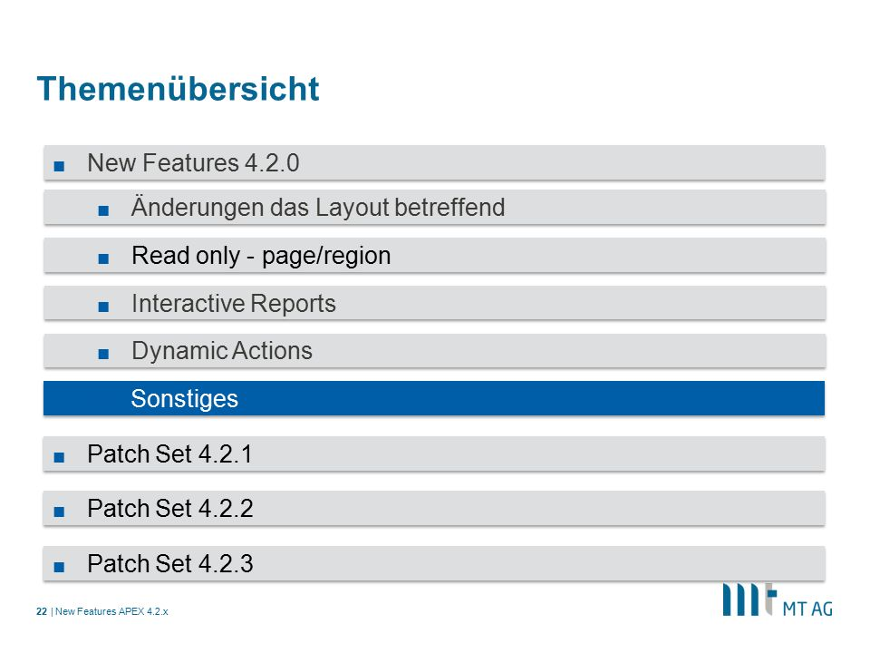 | Themenübersicht New Features APEX 4.2.x22 ■ New Features 4.2.0 ■ Änderungen das Layout betreffend ■ Read only - page/region ■ Interactive Reports ■ Dynamic Actions ■ Sonstiges ■ Patch Set 4.2.1 ■ Patch Set 4.2.2 ■ Patch Set 4.2.3