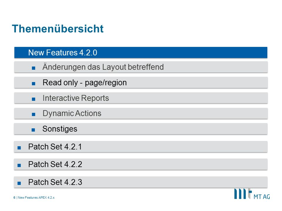 | Themenübersicht New Features APEX 4.2.x6 ■ New Features 4.2.0 ■ Änderungen das Layout betreffend ■ Read only - page/region ■ Interactive Reports ■ Dynamic Actions ■ Sonstiges ■ Patch Set 4.2.1 ■ Patch Set 4.2.2 ■ Patch Set 4.2.3