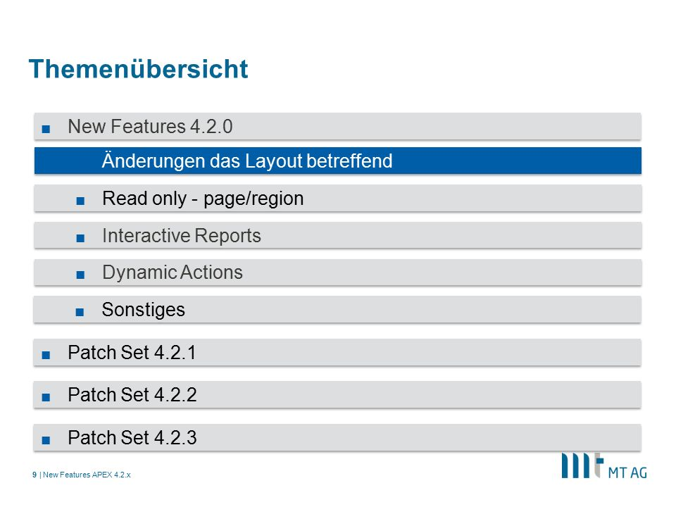 | Themenübersicht New Features APEX 4.2.x9 ■ New Features 4.2.0 ■ Änderungen das Layout betreffend ■ Read only - page/region ■ Interactive Reports ■ Dynamic Actions ■ Sonstiges ■ Patch Set 4.2.1 ■ Patch Set 4.2.2 ■ Patch Set 4.2.3