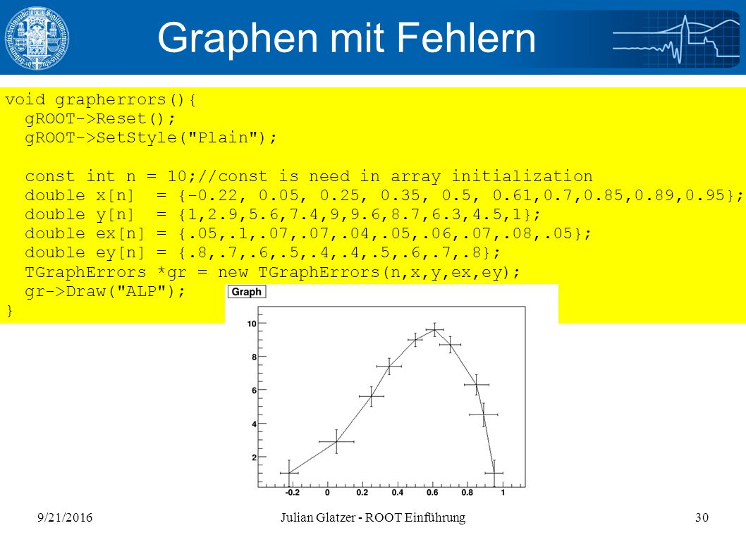 9/21/2016Julian Glatzer - ROOT Einführung30 Graphen mit Fehlern void grapherrors(){ gROOT->Reset(); gROOT->SetStyle( Plain ); const int n = 10;//const is need in array initialization double x[n] = {-0.22, 0.05, 0.25, 0.35, 0.5, 0.61,0.7,0.85,0.89,0.95}; double y[n] = {1,2.9,5.6,7.4,9,9.6,8.7,6.3,4.5,1}; double ex[n] = {.05,.1,.07,.07,.04,.05,.06,.07,.08,.05}; double ey[n] = {.8,.7,.6,.5,.4,.4,.5,.6,.7,.8}; TGraphErrors *gr = new TGraphErrors(n,x,y,ex,ey); gr->Draw( ALP ); }