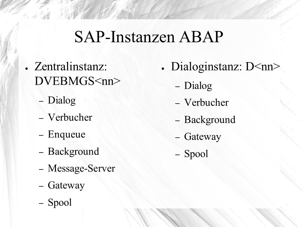 SAP-Instanzen ABAP ● Zentralinstanz: DVEBMGS – Dialog – Verbucher – Enqueue – Background – Message-Server – Gateway – Spool ● Dialoginstanz: D – Dialog – Verbucher – Background – Gateway – Spool
