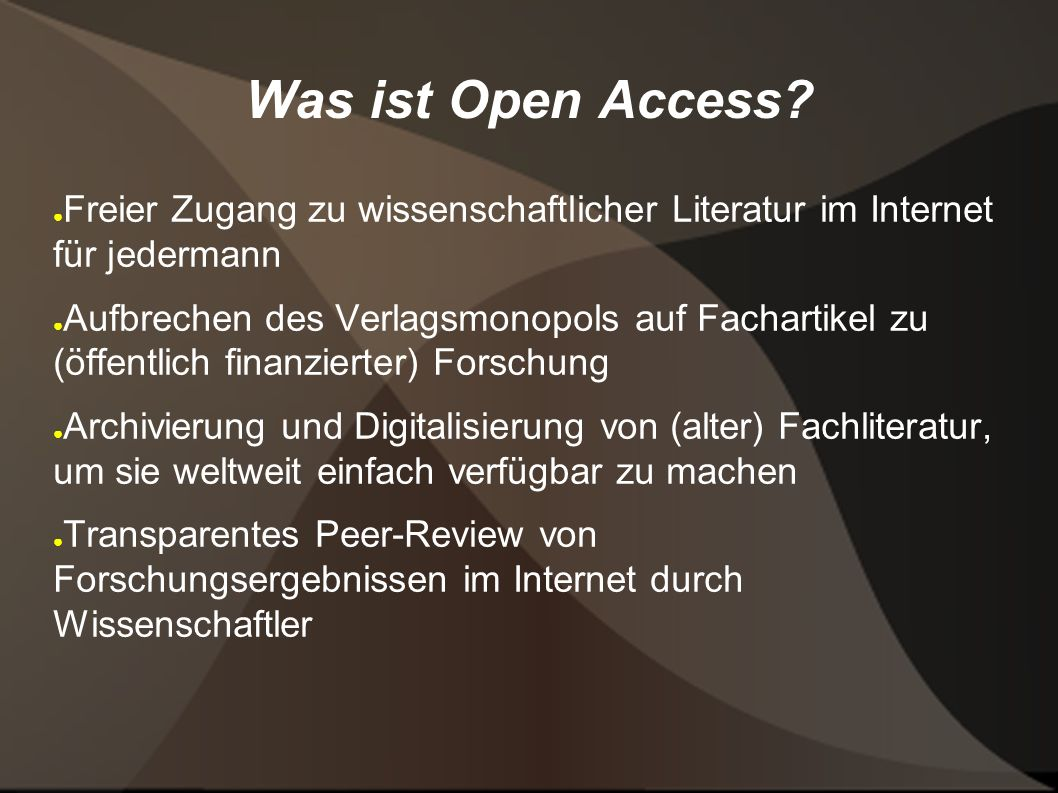 Was ist Open Access.