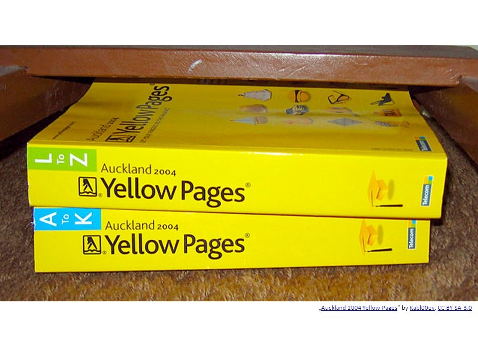 """Auckland 2004 Yellow Pages by Kabl00ey, CC BY-SA 3.0Auckland 2004 Yellow PagesKabl00eyCC BY-SA 3.0"