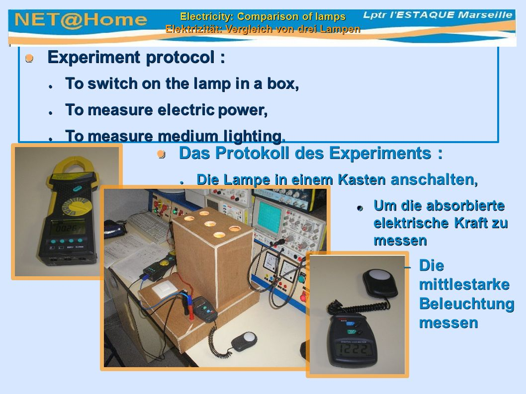 Experiment protocol : Experiment protocol : ● To switch on the lamp in a box, ● To measure electric power, ● To measure medium lighting.