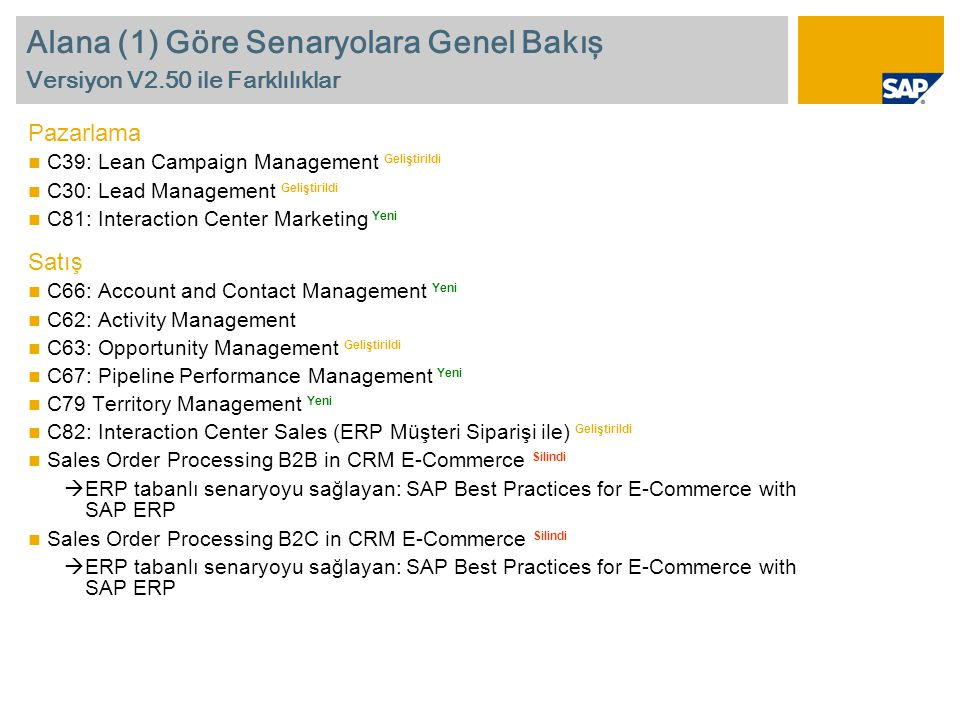 Alana (1) Göre Senaryolara Genel Bakış Versiyon V2.50 ile Farklılıklar Pazarlama  C39: Lean Campaign Management Geliştirildi  C30: Lead Management Geliştirildi  C81: Interaction Center Marketing Yeni Satış  C66: Account and Contact Management Yeni  C62: Activity Management  C63: Opportunity Management Geliştirildi  C67: Pipeline Performance Management Yeni  C79 Territory Management Yeni  C82: Interaction Center Sales (ERP Müşteri Siparişi ile) Geliştirildi  Sales Order Processing B2B in CRM E-Commerce Silindi  ERP tabanlı senaryoyu sağlayan: SAP Best Practices for E-Commerce with SAP ERP  Sales Order Processing B2C in CRM E-Commerce Silindi  ERP tabanlı senaryoyu sağlayan: SAP Best Practices for E-Commerce with SAP ERP