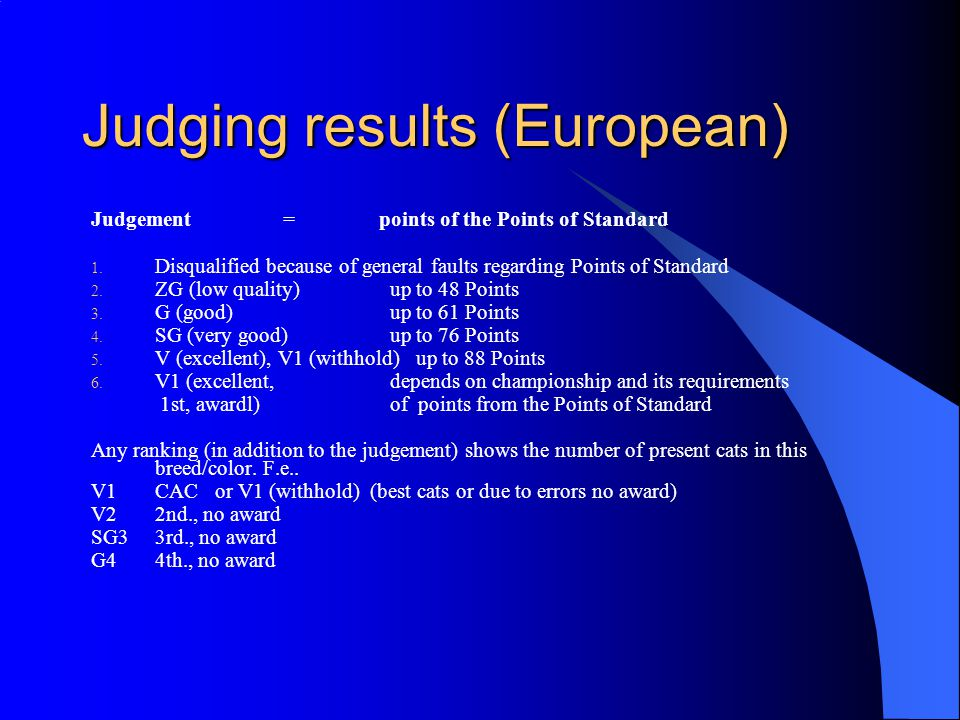 Judging results (European) Judgement = points of the Points of Standard 1.