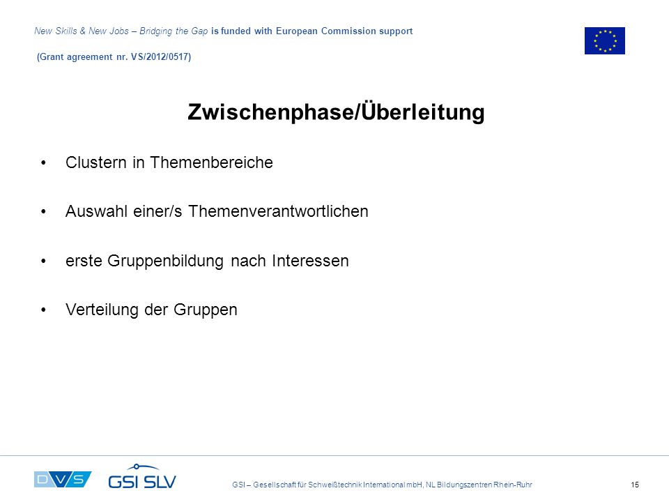 GSI – Gesellschaft für Schweißtechnik International mbH, NL Bildungszentren Rhein-Ruhr15 New Skills & New Jobs – Bridging the Gap is funded with European Commission support (Grant agreement nr.