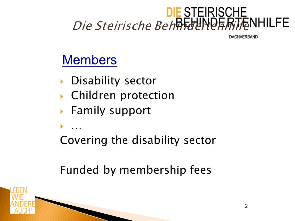 2 Die Steirische Behindertenhilfe  Disability sector  Children protection  Family support  … Covering the disability sector Funded by membership fees Members