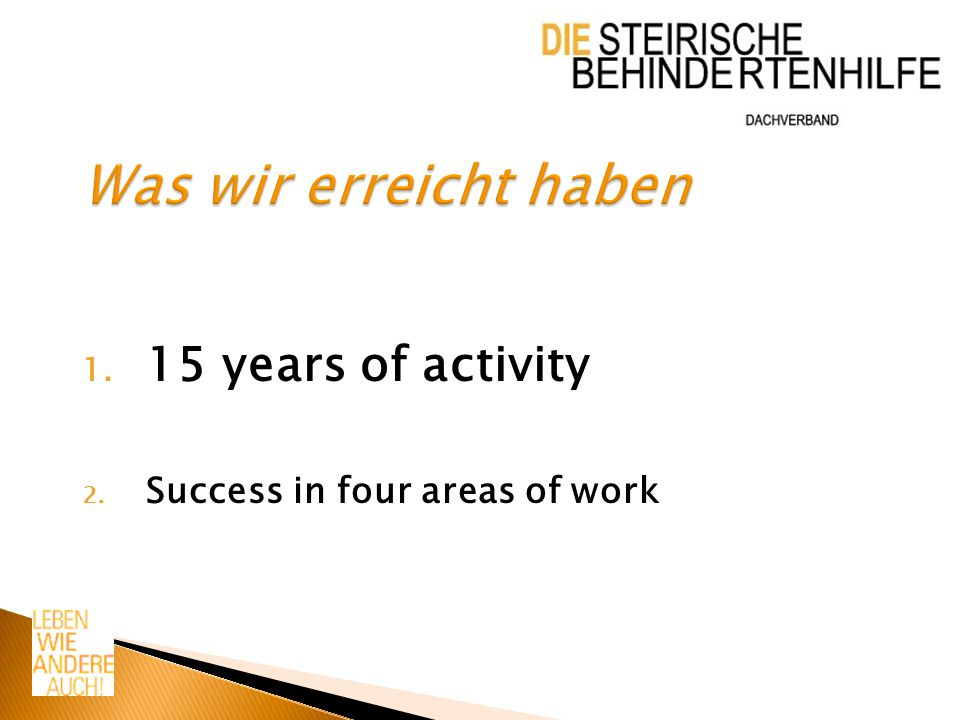 1. 15 years of activity 2. Success in four areas of work