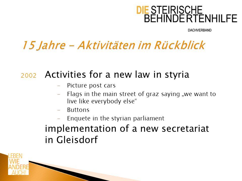 "2002 Activities for a new law in styria -Picture post cars -Flags in the main street of graz saying ""we want to live like everybody else -Buttons -Enquete in the styrian parliament implementation of a new secretariat in Gleisdorf"