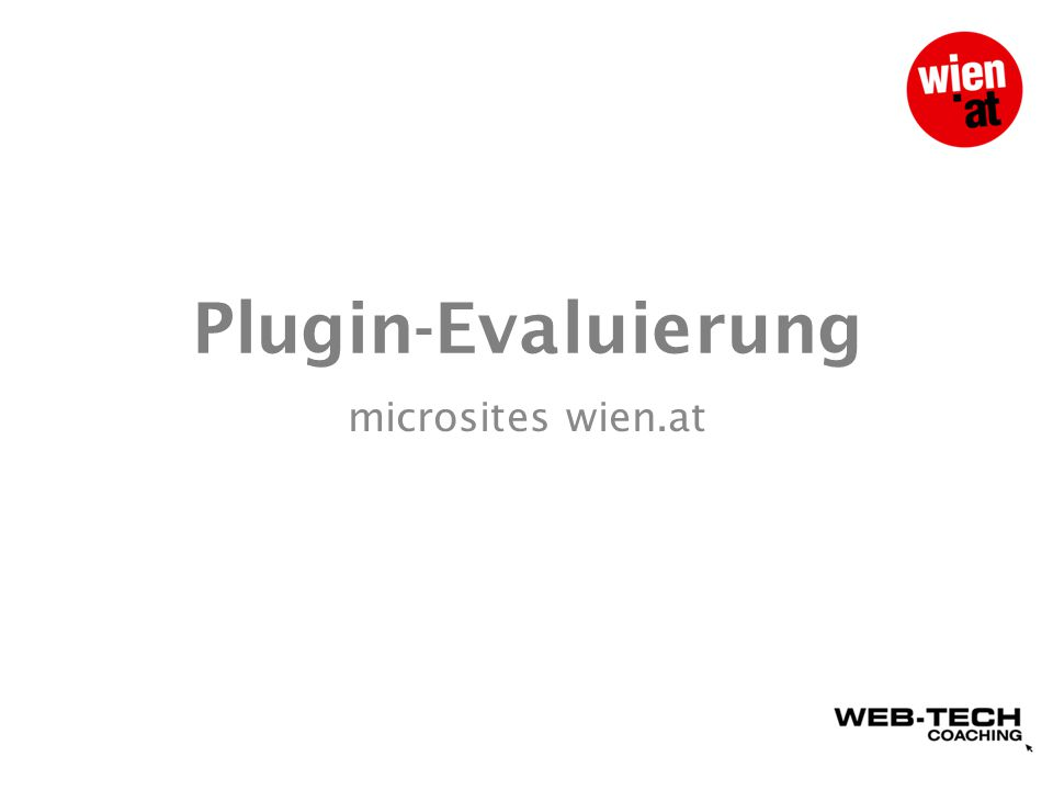 Plugin-Evaluierung microsites wien.at