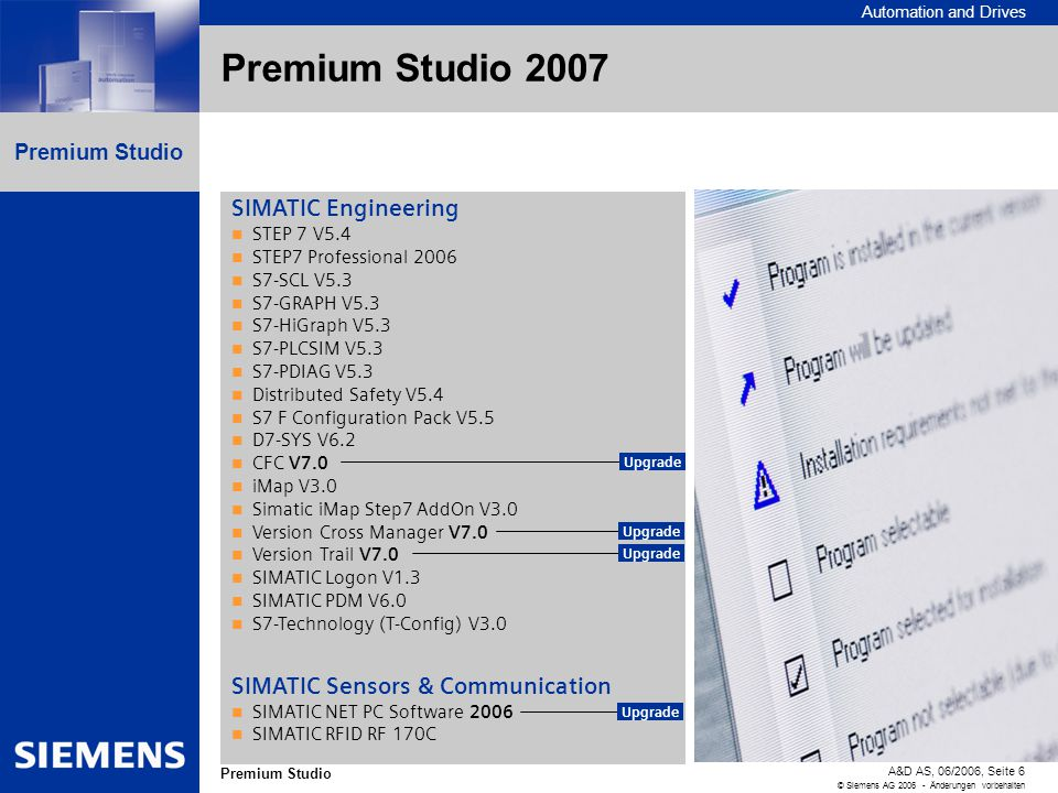 Automation and Drives A&D AS, 06/2006, Seite 6 © Siemens AG 2006 - Änderungen vorbehalten Premium Studio Premium Studio 2007 SIMATIC Engineering STEP 7 V5.4 STEP7 Professional 2006 S7-SCL V5.3 S7-GRAPH V5.3 S7-HiGraph V5.3 S7-PLCSIM V5.3 S7-PDIAG V5.3 Distributed Safety V5.4 S7 F Configuration Pack V5.5 D7-SYS V6.2 CFC V7.0 iMap V3.0 Simatic iMap Step7 AddOn V3.0 Version Cross Manager V7.0 Version Trail V7.0 SIMATIC Logon V1.3 SIMATIC PDM V6.0 S7-Technology (T-Config) V3.0 SIMATIC Sensors & Communication SIMATIC NET PC Software 2006 SIMATIC RFID RF 170C Upgrade