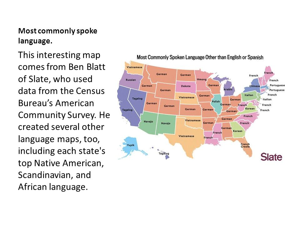 Most commonly spoke language.