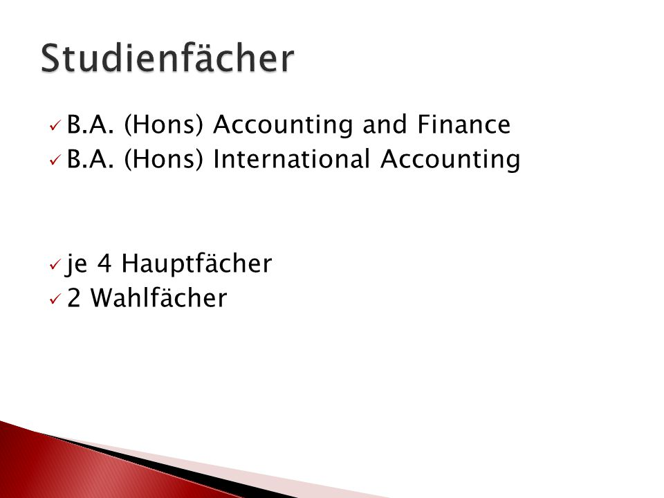 B.A. (Hons) Accounting and Finance B.A.
