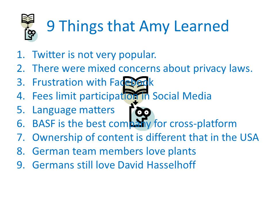 9 Things that Amy Learned 1.Twitter is not very popular.