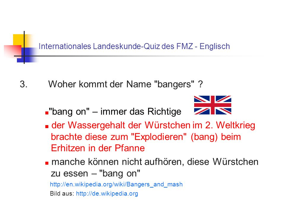 Internationales Landeskunde-Quiz des FMZ - Englisch 3.